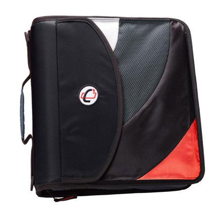 2 D-ring Presentation Binder - Case it dual d ring zip backpack binder, 2 sets of 2 inch rings, blk