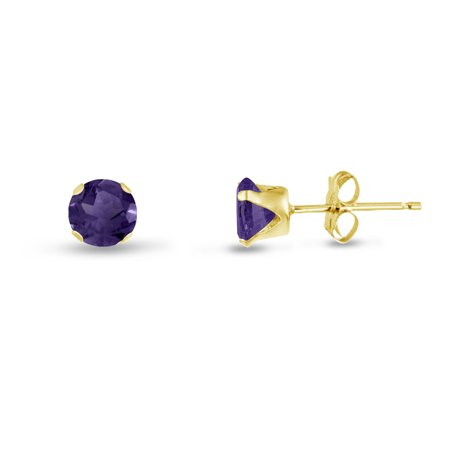 Round 2mm 14k Gold Plated Sterling Silver Simulated Amethyst CZ Stud Earrings, Free Gift Box - Amethyst Sterling Silver Jewelry Box