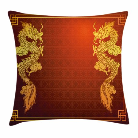Dragon Throw Pillow Cushion Cover, Chinese Heritage Historical Asian Eastern Motif with Legendary Creature Design, Decorative Square Accent Pillow Case, 16 X 16 Inches, Red Earth Yellow, by - Chinese Dragon Decor