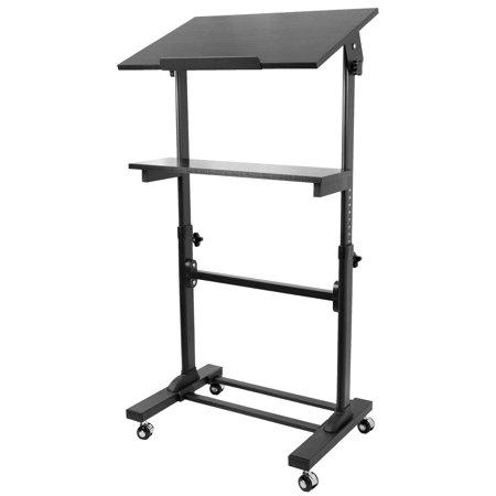 Vivo Height Adjule Multi Purpose Mobile Podium Lectern And Ergonomic Standing Desk Station Cart