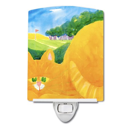 Big Orange Tabby Cat on the Golf Course Ceramic Night Light - Night Time Golf Course