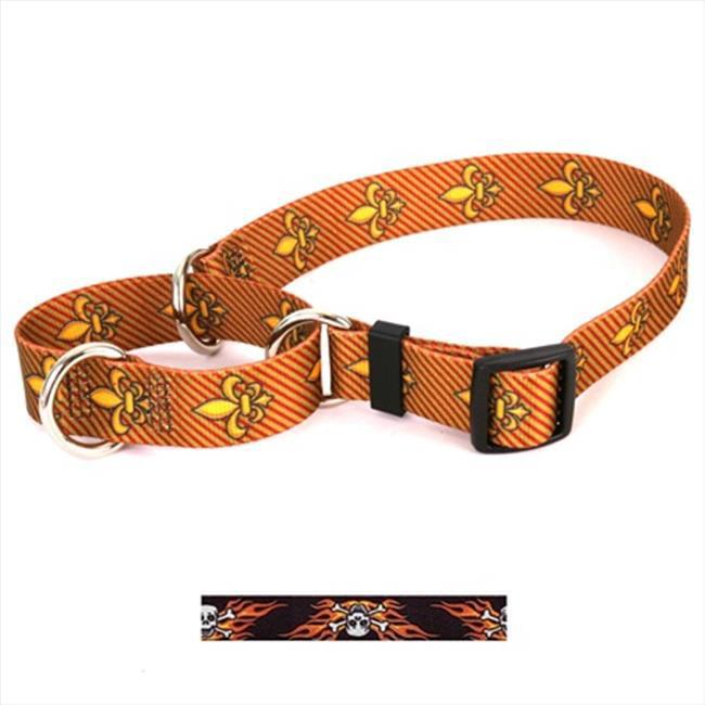Yellow Dog Design M-FSK103L Flaming Skulls Martingale Collar - Large