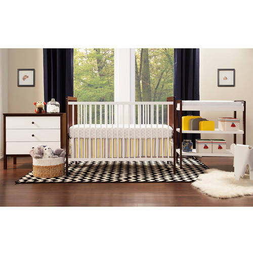 Awesome Baby Mod Payton 3 Piece Nursery Set, Two Tone White And Espresso
