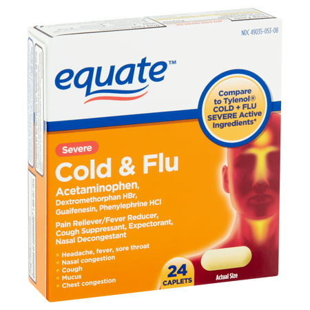 Equate Severe Cold & Flu Caplets, 24 count