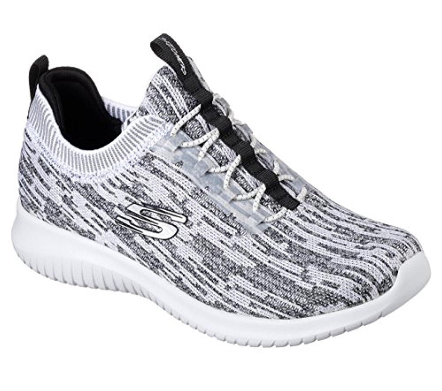 12831 White Black Skechers Shoe Memory Foam Women Slip On Comfort Walk Soft Mesh 12831WBK by Skechers