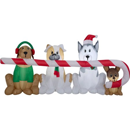 Gemmy Christmas Airblown Inflatable Puppies Sharing a Big Candy Cane Scene