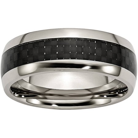 Titanium Polished w/Black Carbon Fiber Inlay 8mm Band