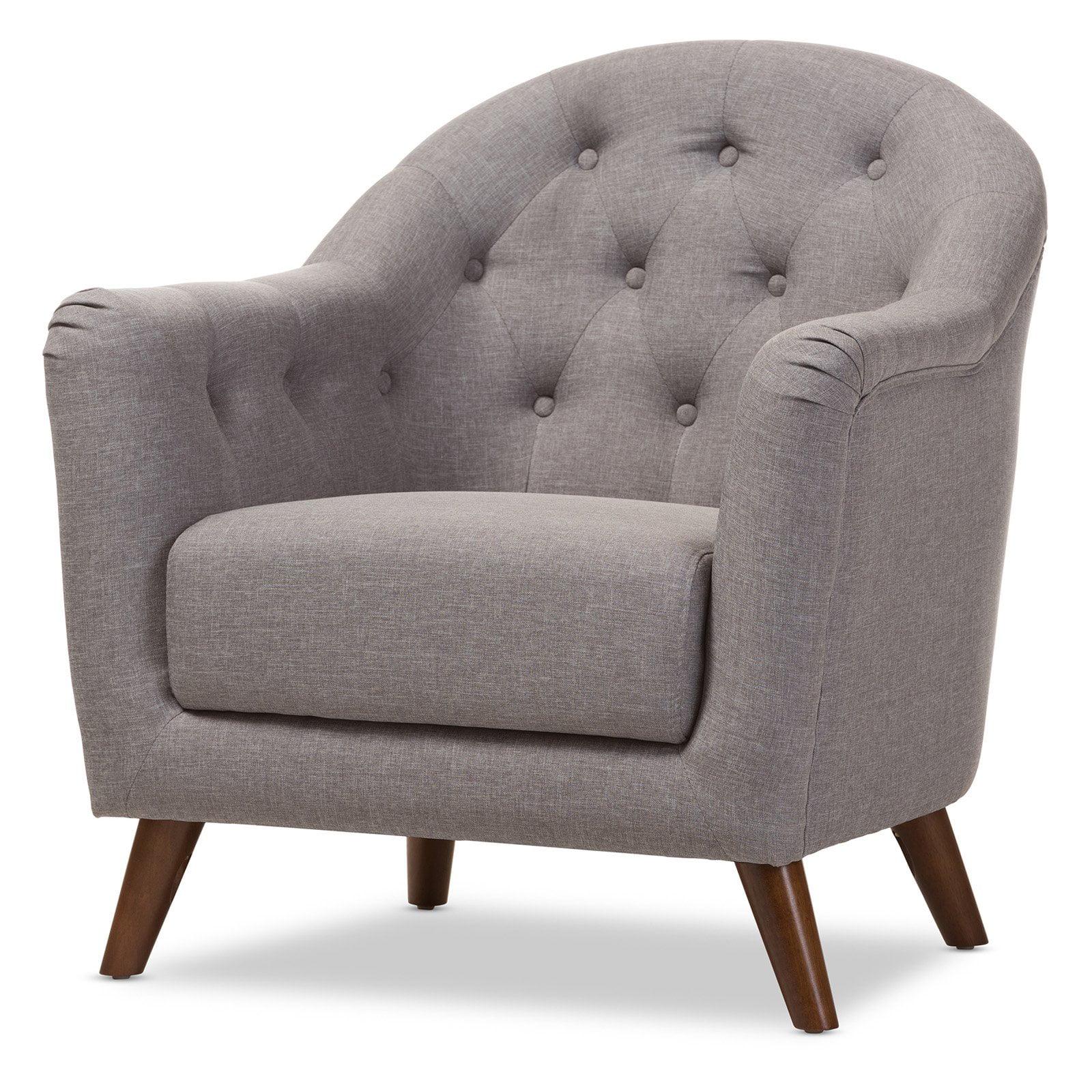 Baxton Studio Lotus Mid-Century Modern Light Gray Fabric Upholstered Walnut Wood Button-Tufted Armchair by Baxton Studio