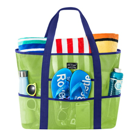 SoHo Collection, Mesh Beach Bag - Toy Tote Bag - Large Lightweight Market, Grocery & Picnic Tote with Oversized Pockets (Green/Blue) Deluxe Beach Tote Bag