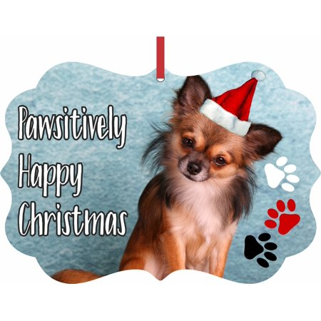 Chihuahua Santa - Ornament Dog - Chihuahua in a Santa Claus Hat - Pawsitively Merry Christmas - Double Sided Elegant Aluminum Glossy Christmas Ornament Tree Decoration - Unique Modern Novelty Tree Décor Favors