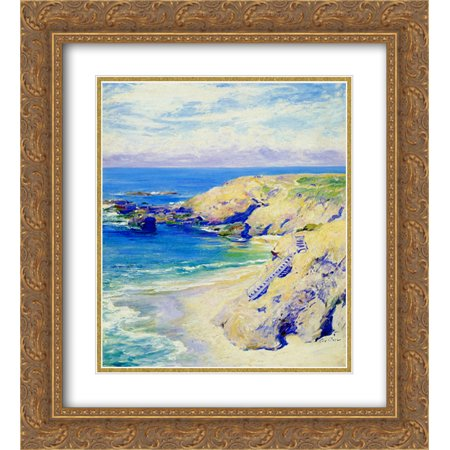 Guy Rose 2X Matted 20X22 Gold Ornate Framed Art Print La Jolla Cove