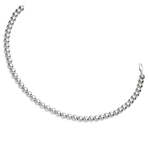 Jewelryweb Sterling Silver Rhodium Plated 18 Inch Fancy Bead Necklace