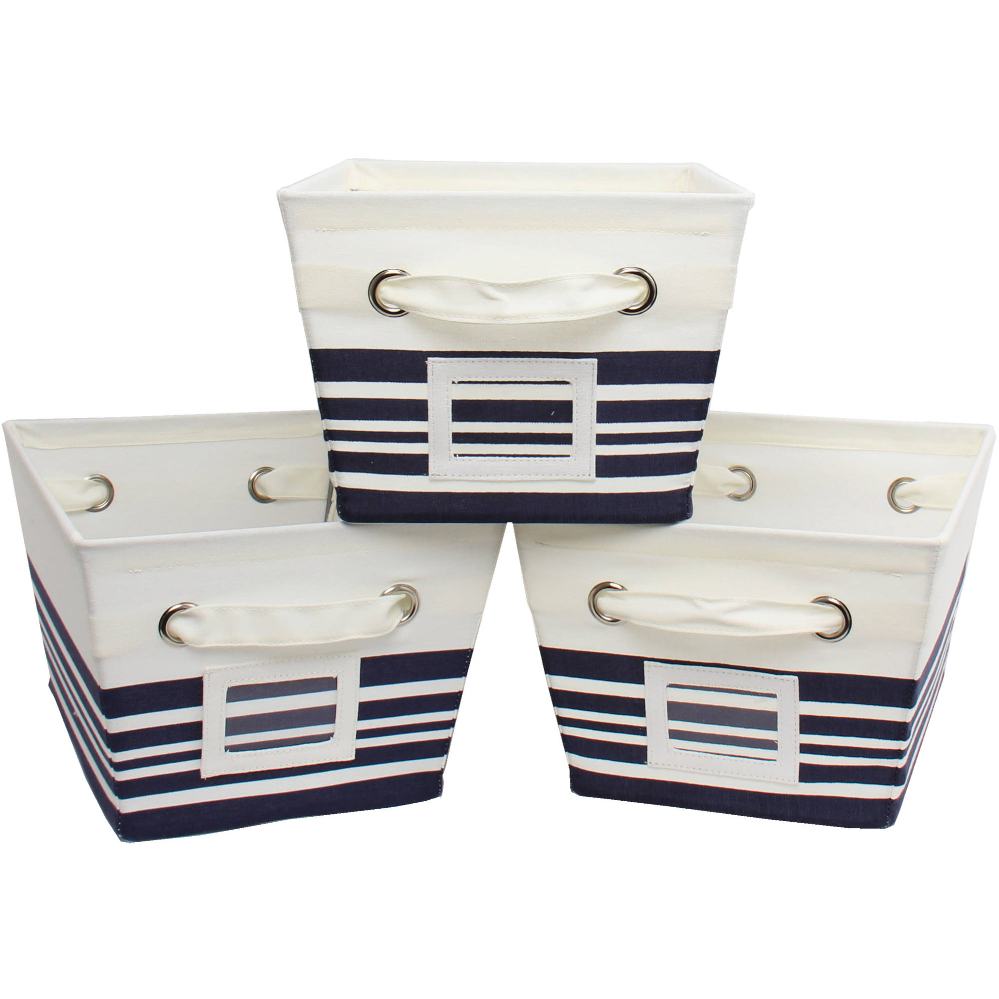 Mainstays Medium Canvas Bins, 3-Pack, Lattice Brownstone Print, Multiple Colors, Nautical Stripe