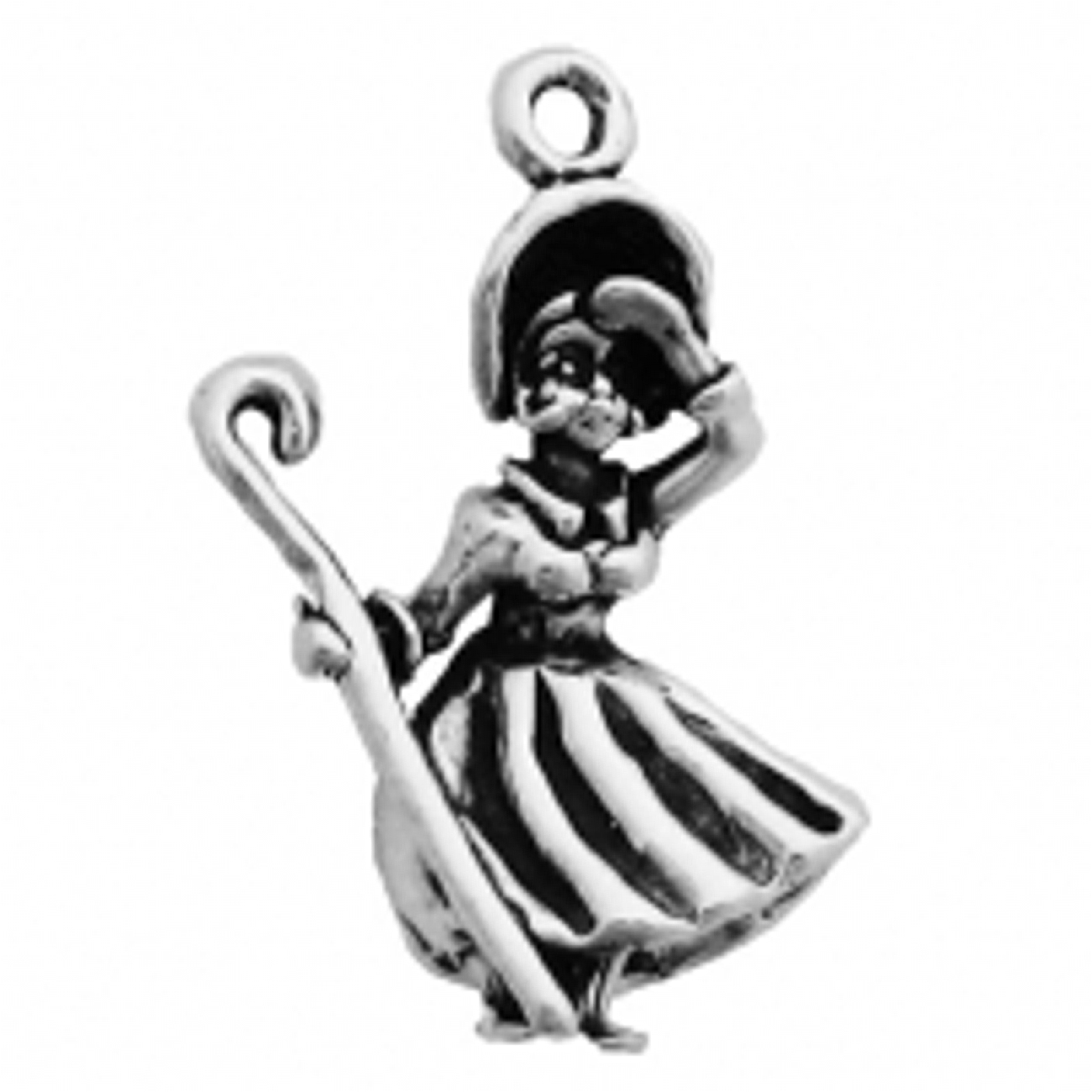 Sterling Silver Womens 1mm Box Chain 3D Little Bo Peep Pendant Necklace