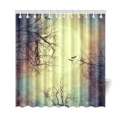GCKG Halloween Full Moon Night Shower Curtain Autmn Winter Tree Branches Polyester Fabric Bathroom Sets 66x72 Inches