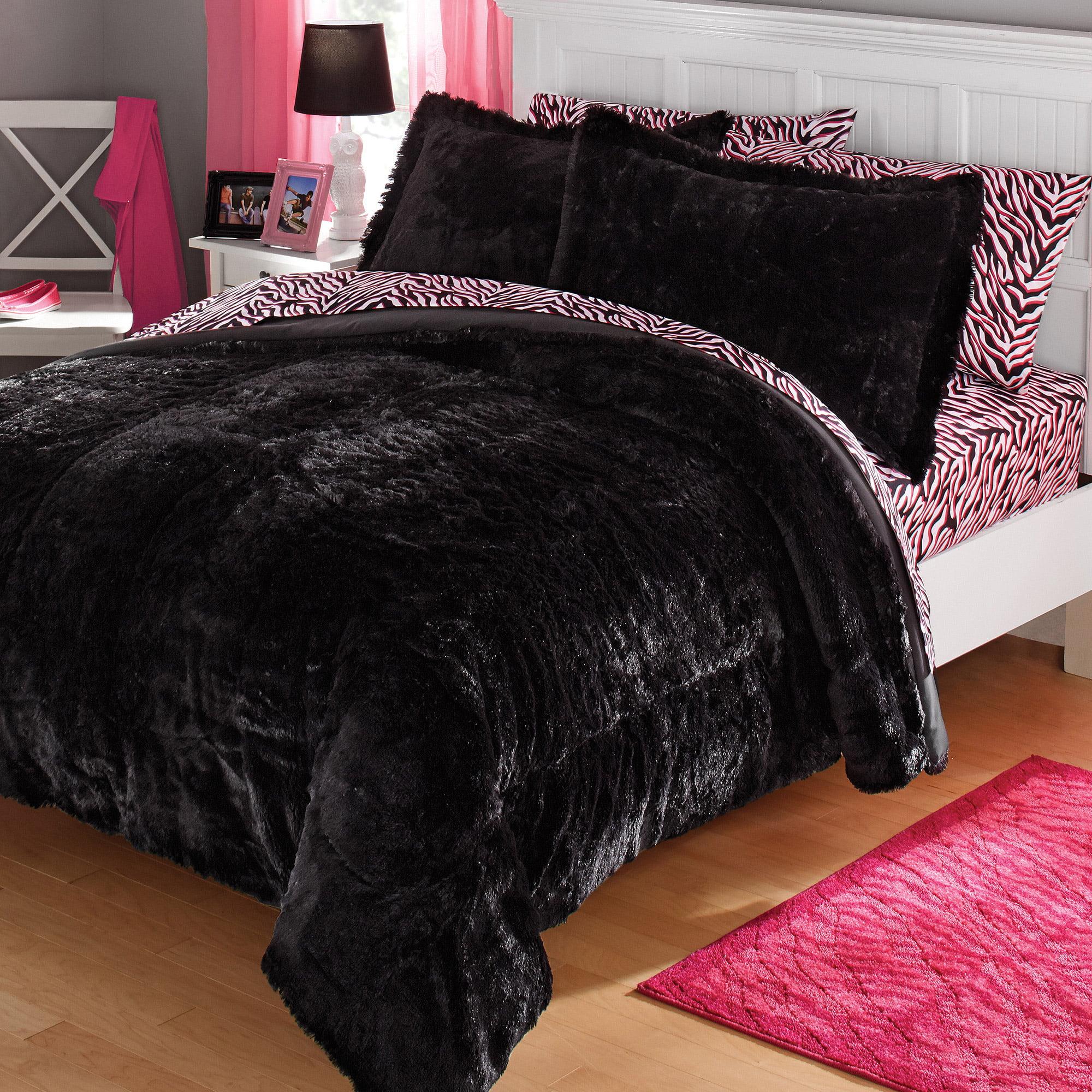 your zone long fur bedding comforter set - Walmart.com