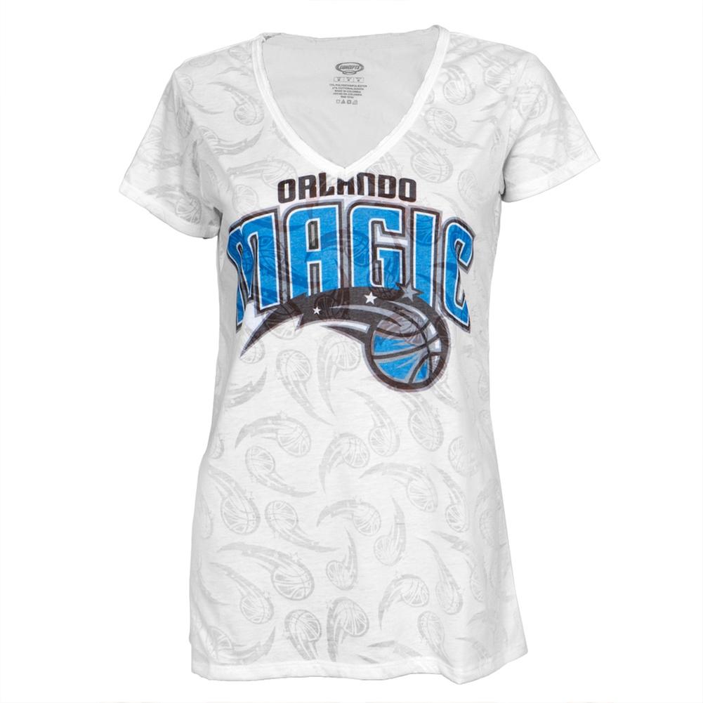 Orlando Magic Logo Juniors Burnout V-Neck T-Shirt