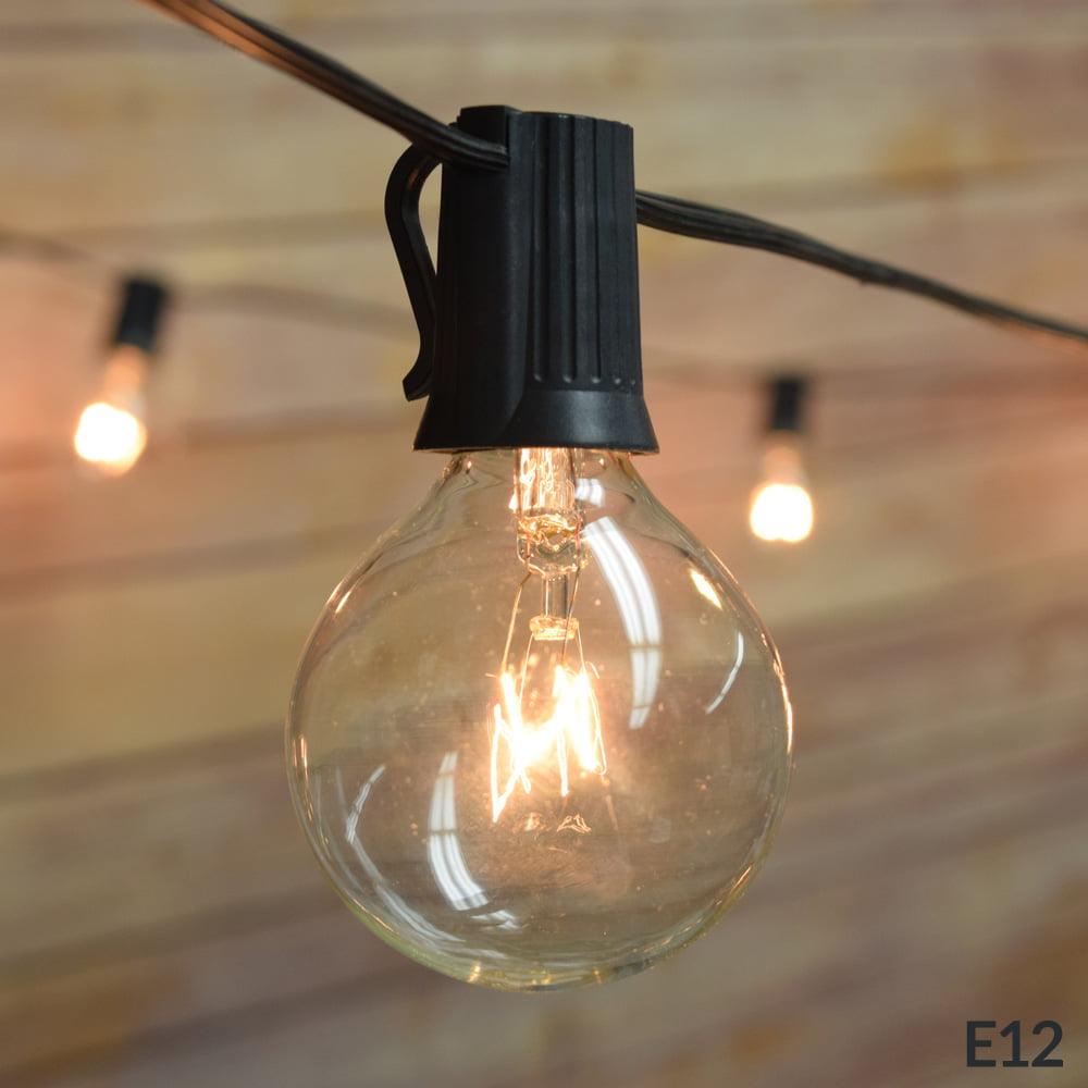 10 Socket Outdoor Patio String Light Set, G40 Clear Globe Bulbs, 12 FT Black Cord w/ E12 C7 Base