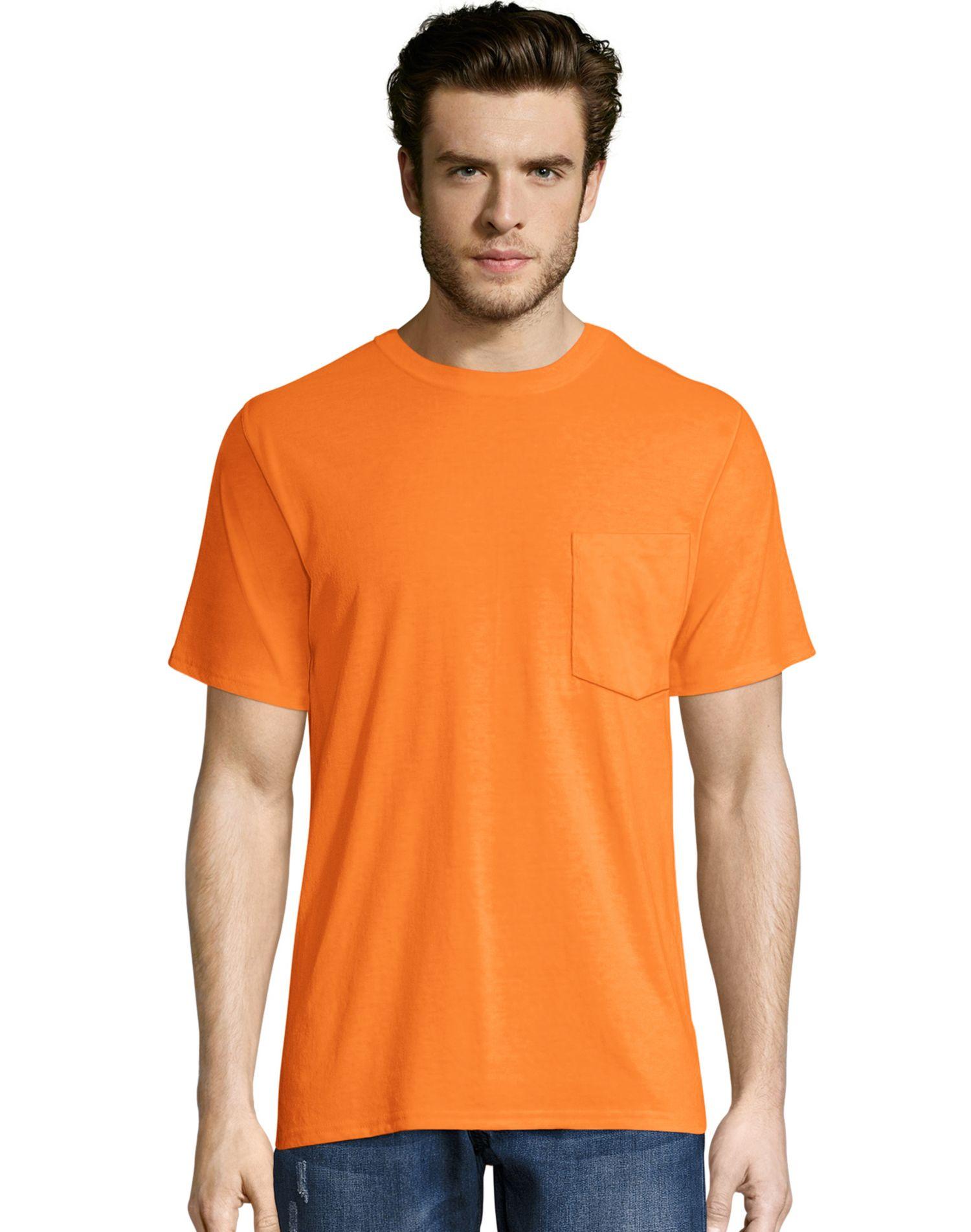 Hanes Mens X-Temp FreshIQ Workwear Pocket Tee Value 2-Pack, XL, Army Brown