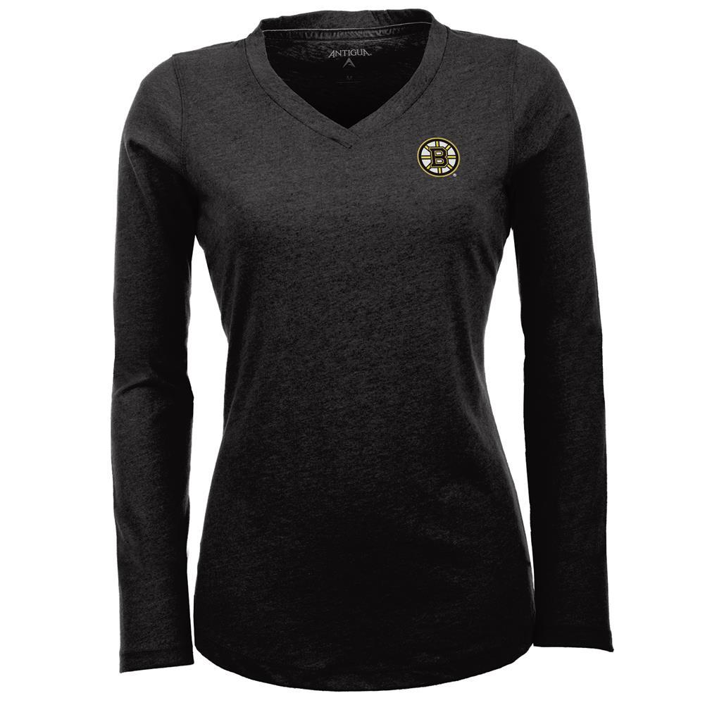 Women's Boston Bruins Flip V-Neck Long Sleeve Tee by Antigua