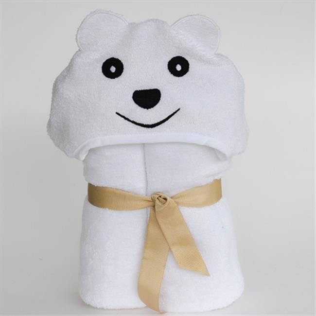 Little Ashkim BHTB002 Little Kid Bear Hooded Bamboo Turkish Towel - White, 2T-5T