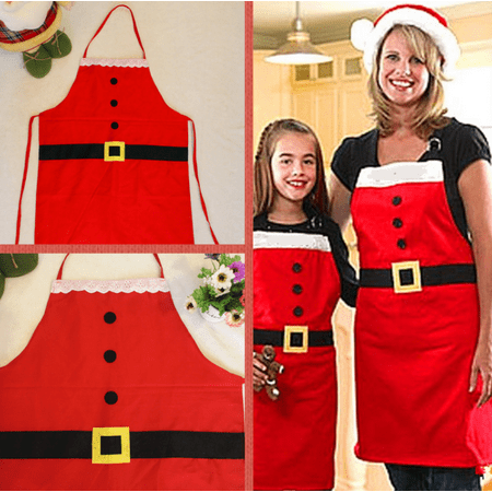 5 Tub Apron - Zerone Red Color Christmas Party Dinner Apron Kitchen Cooking Aprons Festival Decoration, Christmas Apron, Party Dinner Aprons