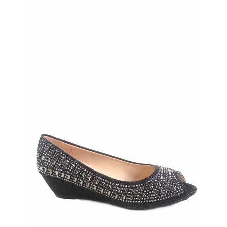 Fisher-1 Women's Slip On Glitter Rhinstone Open Toe Low Wedge Heel Pump (Open Toe Vintage Pumps)