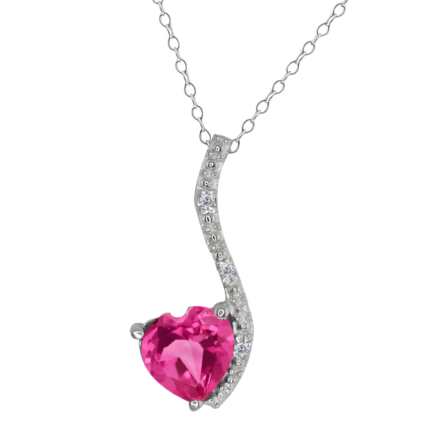 0.92 Ct Heart Shape Pink Mystic Topaz and Diamond 14k White Gold Pendant