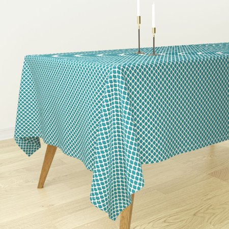 Tablecloth Mermaid Nautical Coral Scallops Netting Beach Cotton Sateen - Fishnet Tablecloth