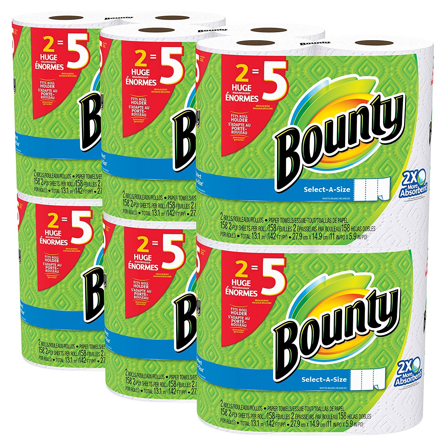 Bounty Paper Towels, Select-A-Size, 12 Huge Rolls