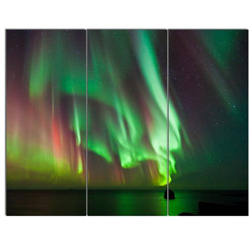 Design Art 'Green Northern Lights Aurora' 3 Piece Graphic Art on Wrapped Canvas Set