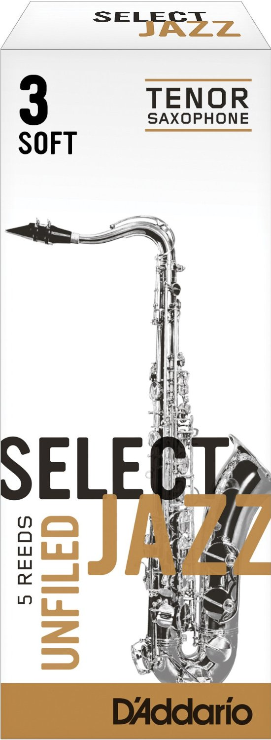 Rico Select Jazz Unfiled Bb Tenor Sax Reeds 3 Soft Strength, 5 Pack by Rico