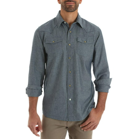 Men's Long Sleeve Western Snap (Denim Long Sleeve Sport Shirt)
