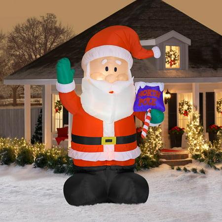 16 39 tall airblown santa christmas inflat for Air blown christmas decoration