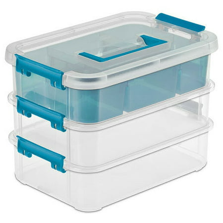 14138606 Layer Stack & Carry Box, 10-5/8-Inch, Features three tiers of storage with one organizer insert By STERILITE
