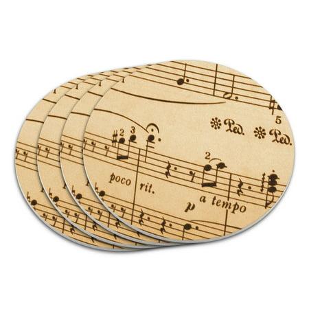 Music Musical Sheet Notes Vintage Treble Clef Coaster Set ()