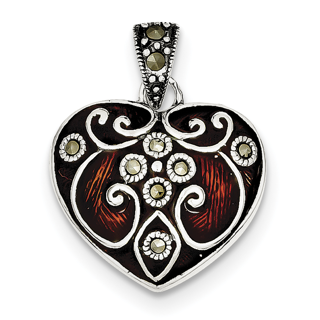 Sterling Silver Red Enamel & Marcasite Heart Pendant QP1292