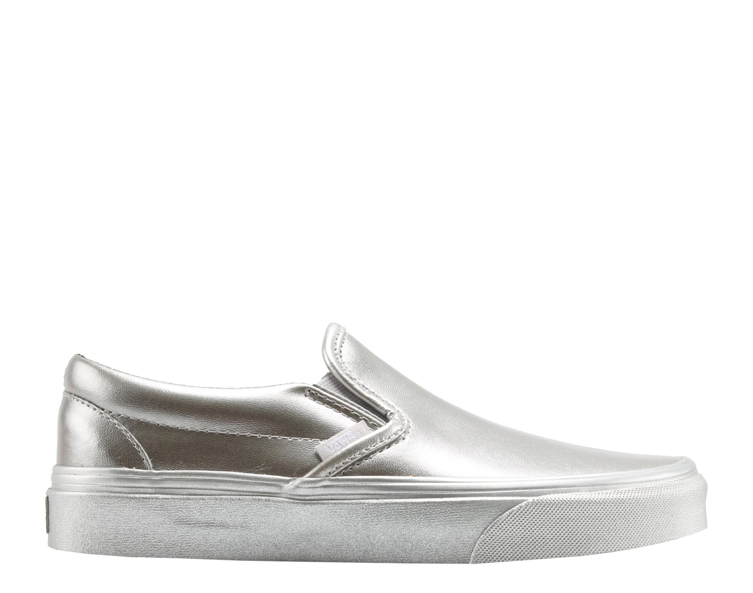 5a61c8bd4aae Vans - Vans Classic Slip On Metallic Sidewall Silver Low Top Sneakers  VN0A38F7QTV - Walmart.com