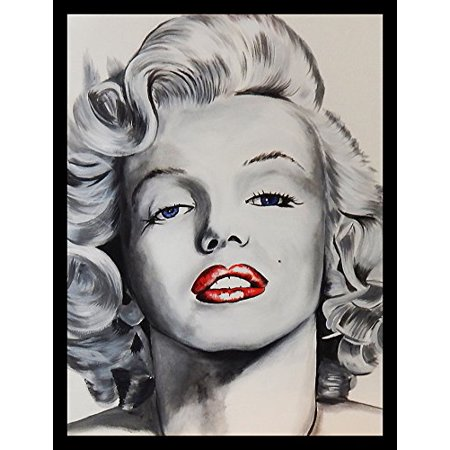 Buyartforless Framed Pin Up Marilyn Monroe By Ed Capeau 18X12 Art Print Poster  Classic Pop Art Style Hollywood Icon Red Lips Sexy