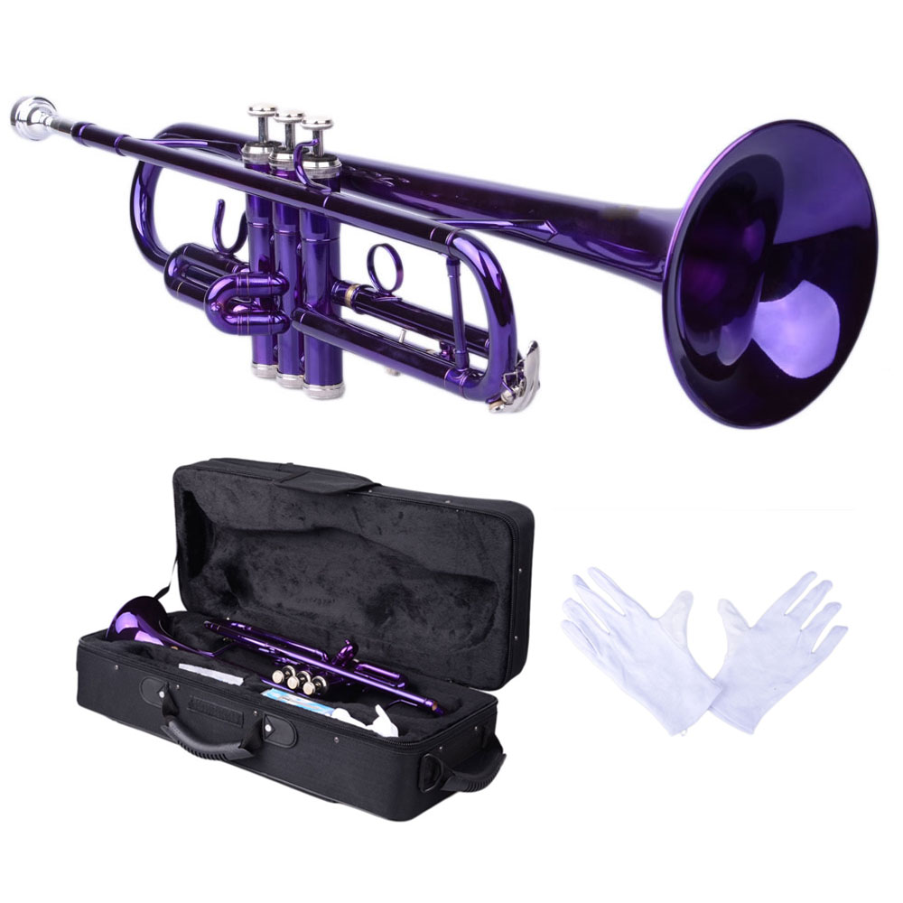 Zimtown New Bb Beginner School Band Trumpet with Mouthpiece Case Blue Green Purple