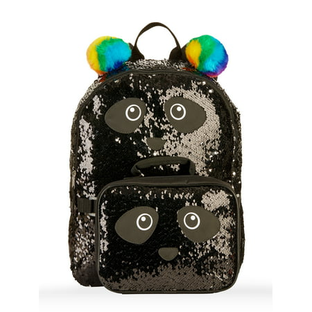 Girls' Panda 2-Way Sequin Backpack With Lunch Bag for $<!---->