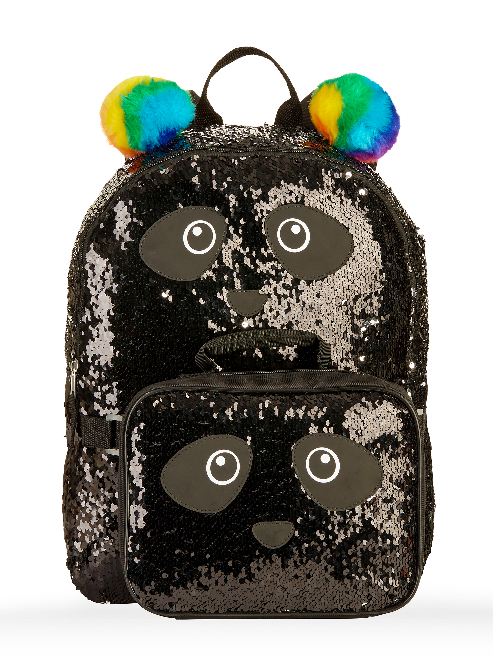 Girls' Panda 2-Way Sequin Backpack With Lunch Bag