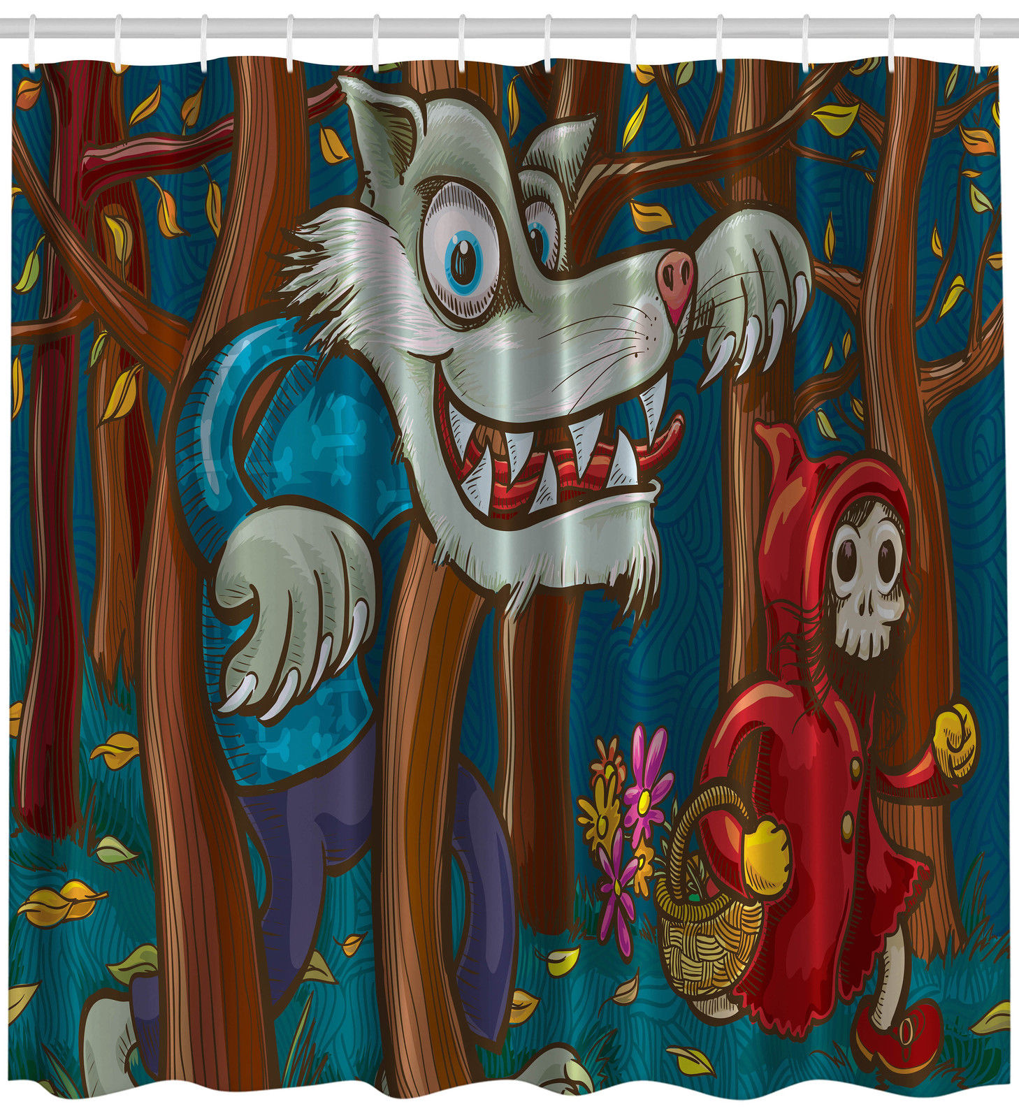 Little Red Cap Scary Wolf Art Decor for Kids Unisex Extra Long Shower Curtain