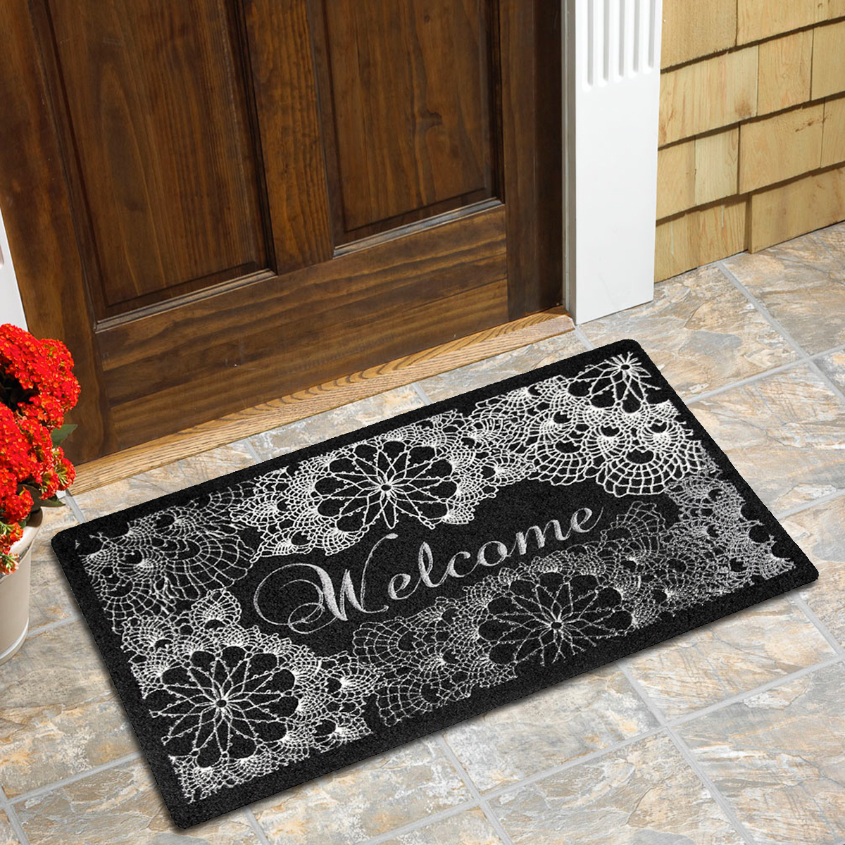 "Outdoor Floral Textured Print Welcome Doormat Front Non-Slip Rubber Back 18""x27"""