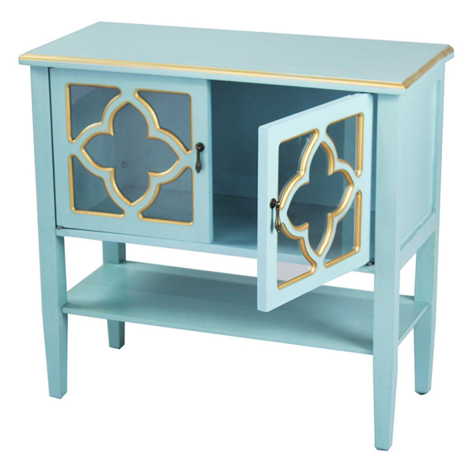 Heather Ann Creations Frasera Quatrefoil Glass Console Cabinet