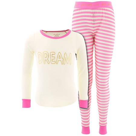 Delia*s Girls Dream Pink and Ivory Thermal (Kate Spade Dream A Little Dream Pajamas)