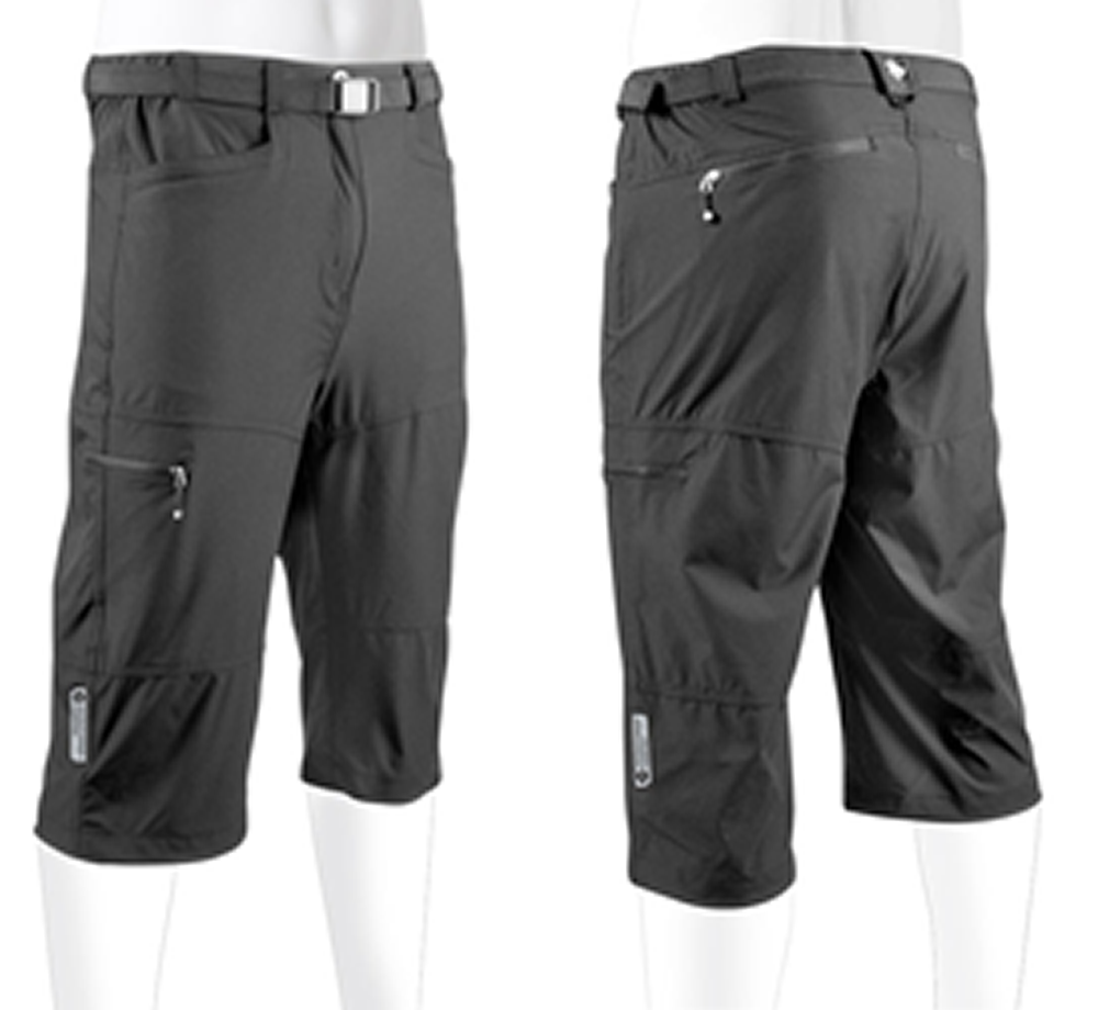 Aero Tech Men's Urban Pedal Pushers Knickers Stretch Woven w Cargo Pockets Black X-Small by Aero Tech Designs