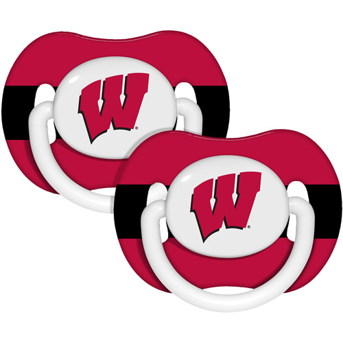 Baby Fanatic NCAA 2 - Pack Baby Pacifiers, Wisconsin Badgers