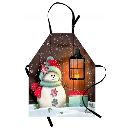 Christmas Apron Cute Snowman with Santa Hat in the Garden with a Gift Box and Lantern Image, Unisex Kitchen Bib Apron with Adjustable Neck for Cooking Baking Gardening, Brown White, by