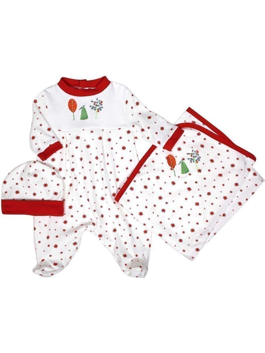 "Raindrops Unisex Baby Red Nature Footie Receiving Blanket Cap Set 28""-34"" by Raindrops"